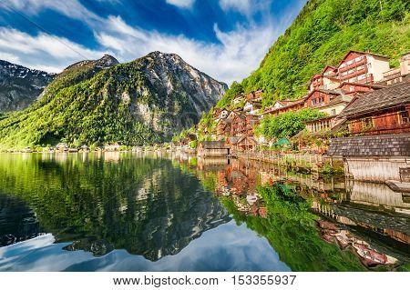 Summer Sunrise At Hallstattersee Lake In Hallstatt, Alps, Austria