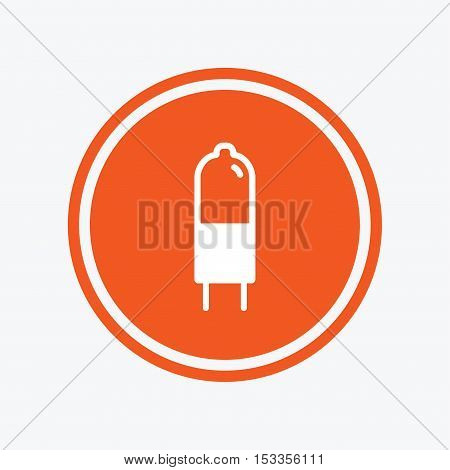 Light bulb icon. Lamp G4 socket symbol. Led or halogen light sign. Graphic design element. Flat g4 lamp symbol on the round button. Vector
