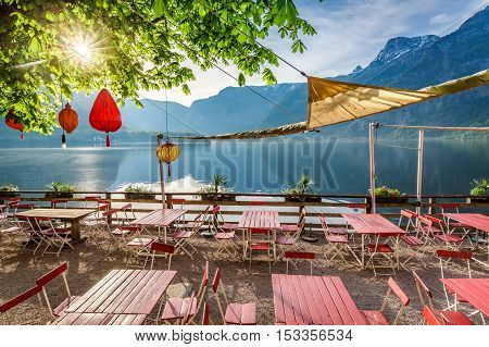 Beautiful Sunrise Over A Lake In Hallstatt, Alps, Austria