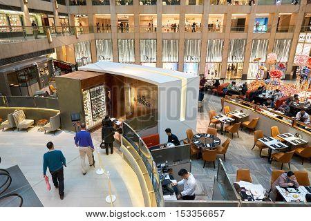 HONG KONG - CIRCA JANUARY, 2016: Cafe Landmark at The Landmark shopping mall. The Landmark is one of the oldest and most prominent shopping malls in Hong Kong.