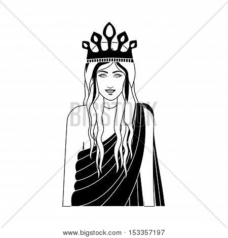 silhouette gambling queen character icon over white background. vector illustration