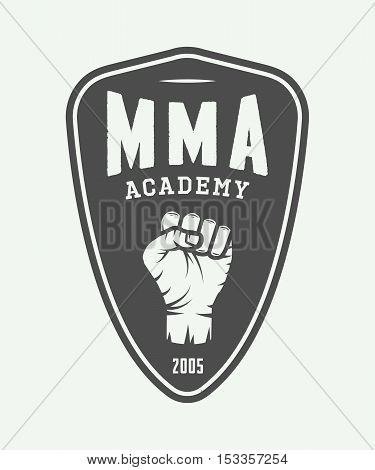 Vintage mixed martial arts logo badge or emblems. Vector illustration. Graphic Art.
