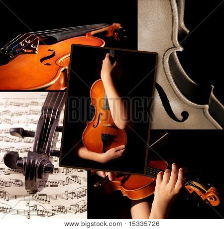 This is a violin themed collage.  It illustrates love for good classic music