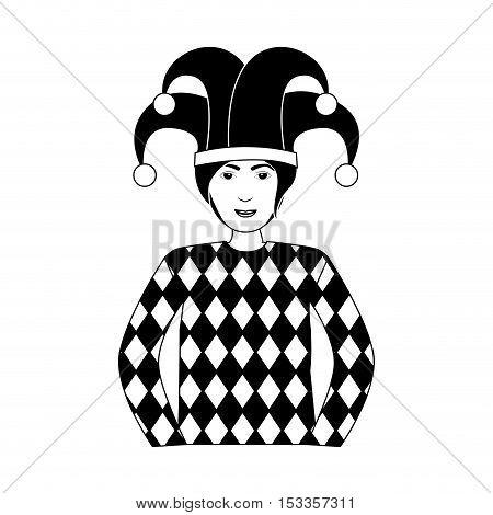 silhouette gambling jocker character icon over white background. vector illustration