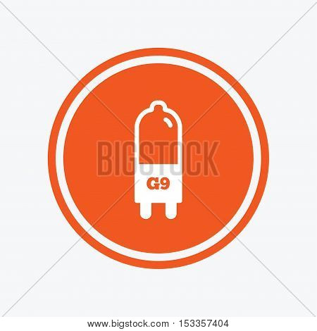 Light bulb icon. Lamp G9 socket symbol. Led or halogen light sign. Graphic design element. Flat g9 lamp symbol on the round button. Vector