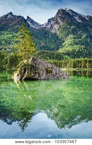 Breathtaking Dawn At Hintersee Lake In Alps, Germany