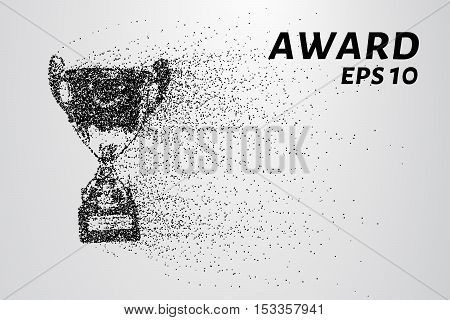 The award of the particles. Sports trophy consists of dots and circles.