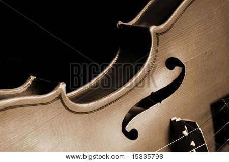 close up of vintage violin fragment