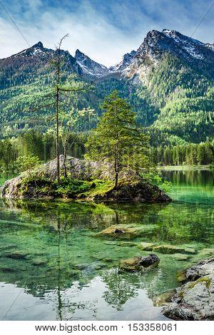 Dawn At Hintersee Lake In Alps, Germany