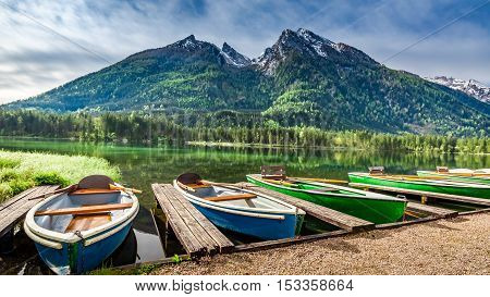 Boats On The Lake Hintersee In The Alps, Germany