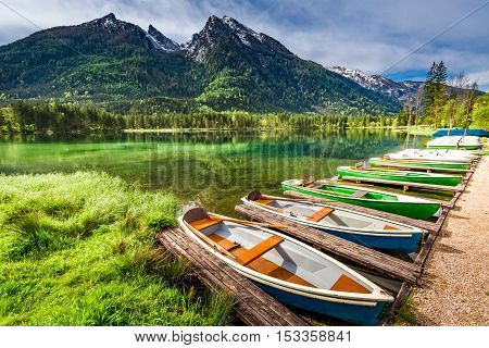 Few Boats On The Lake Hintersee In The Alps, Germany