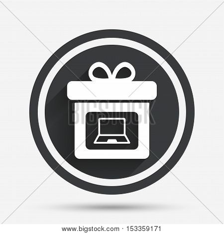 Gift box sign icon. Present with notebook pc symbol. Circle flat button with shadow and border. Vector