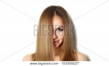 Blond Long Hair. Fashion Woman Portrait. Long straight hair