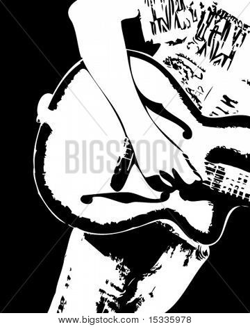 Rock musician playing guitar
