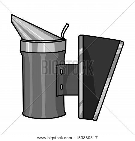 Bee smoker icon in monochrome style isolated on white background. Apiary symbol vector illustration