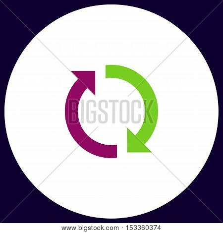 rotation arrows Simple vector button. Illustration symbol. Color flat icon