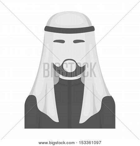 Sheikh icon in monochrome style isolated on white background. Arab Emirates symbol vector illustration.
