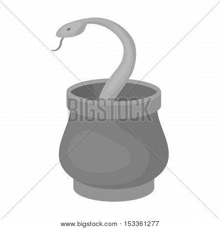 Snake in basket icon in monochrome style isolated on white background. Arab Emirates symbol vector illustration.