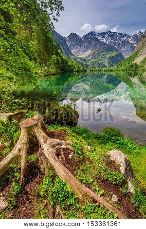 Breathtaking Obersee lake in Alps Germany in spring