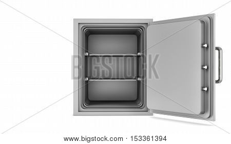 3d rendering of opened empty steel safe box placed in front of a viewer isolated on white background. Depository safe. Protection and security.