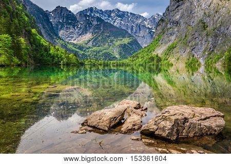 Stunning View Of The Mountain Lake Obersee, Alps, Germany