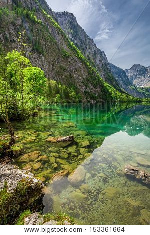 View For Green Mountain Lake In Alps, Germany