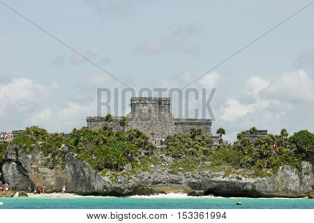 A beautiful view of Tulum Temple, MEXICO.