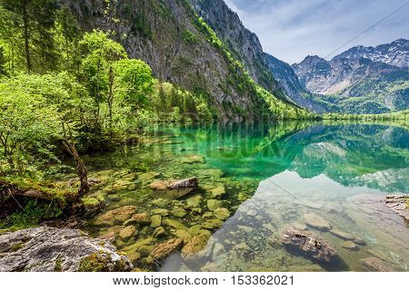 Obersee lake in Alps Germany in spring