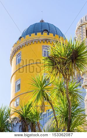 colorful old architect palace pena in sintra