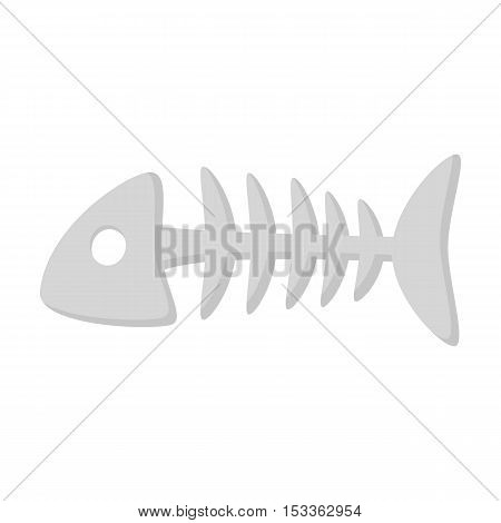 Fish bone icon in monochrome style isolated on white background. Cat symbol vector illustration.
