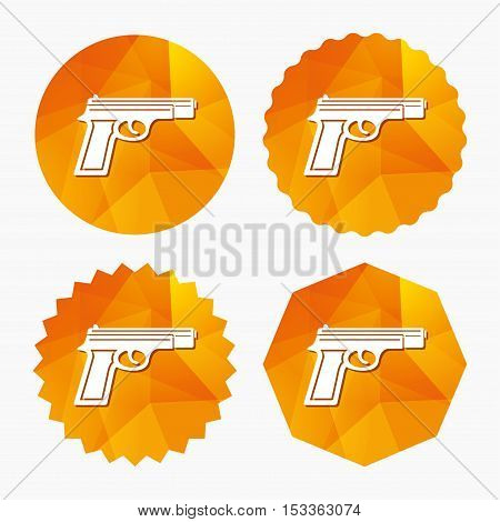 Gun sign icon. Firearms weapon symbol. Triangular low poly buttons with flat icon. Vector
