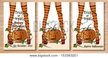 Set Halloween card with sexy witch legs in striped stockings on a background of jack-o'-lantern. Vector illustration