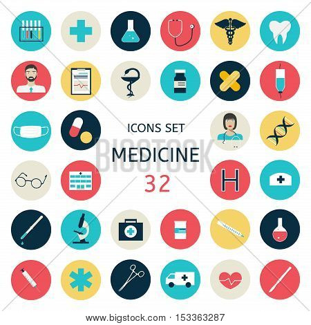 Set icons medical tools and healthcare equipment, science research and health treatment service.