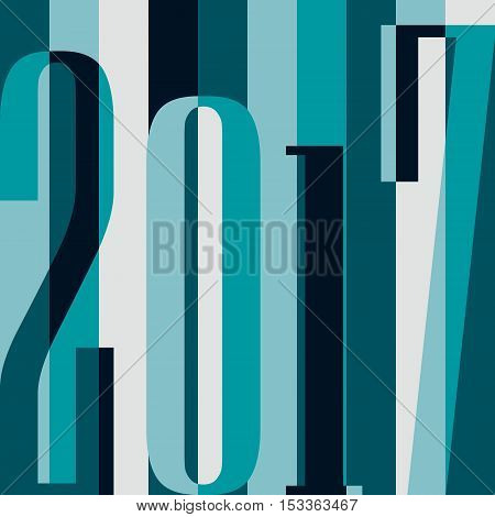 Vector 2017 Happy New Year background. calendar cover typographic vector illustration