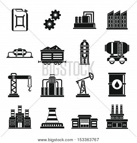 Industry icons set. Simple illustration of 16 industry vector icons for web