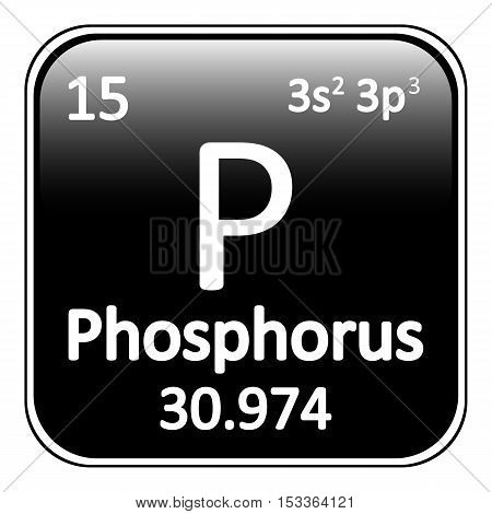 Periodic table element phosphorus icon on white background. Vector illustration.