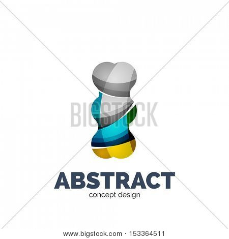 Modern abstract futuristic logo. Minimal clean geometric design, created with overlapping waves