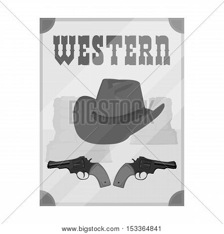 Western movie icon in monochrome style isolated on white background. Films and cinema symbol vector illustration.