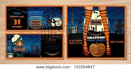 Halloween night party invitation set with young cute girl in a witch costume and magic hat, moon, bats, cemetery, jack-o'-lantern. Vector illustration