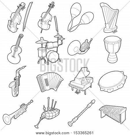 Musical instruments icons set. Outline cartoon illustration of 16 musical instruments vector icons for web