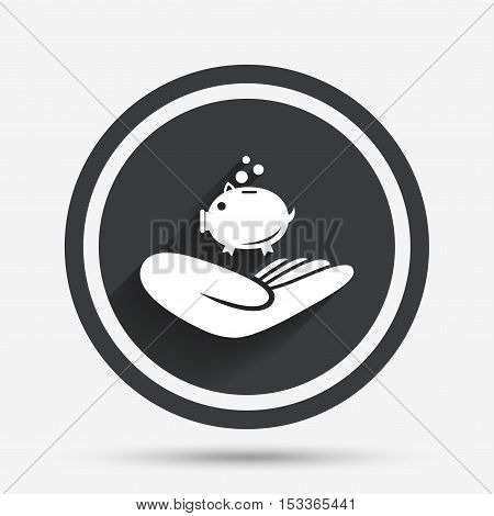 Donation hand sign icon. Hand holds Piggy bank. Charity or endowment symbol. Human helping hand palm. Circle flat button with shadow and border. Vector