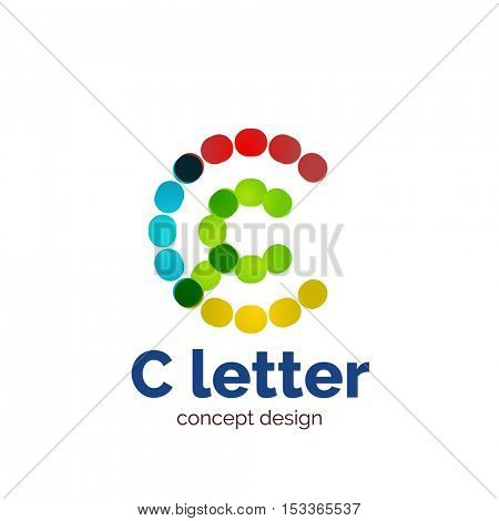 modern minimalistic dotted letter concept logo template, abstract business icon