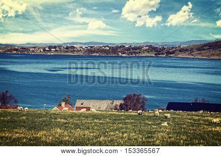 Norway landscape toned Instagram style grunge .