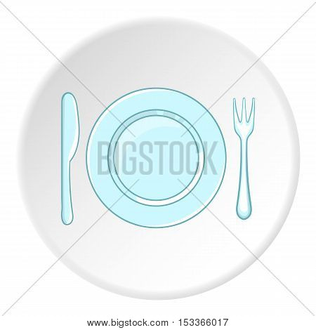 Plate with spoon and fork icon. Cartoon illustration of plate with spoon and fork vector icon for web