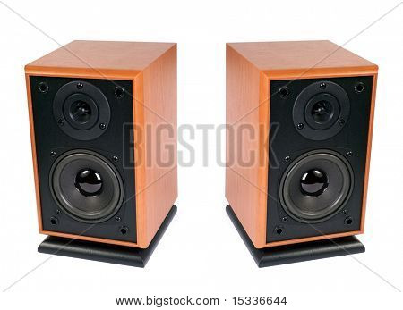 Two wooden loud speakers isolated on white
