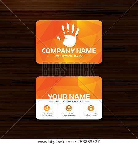 Business or visiting card template. Hand print sign icon. Stop symbol. Phone, globe and pointer icons. Vector