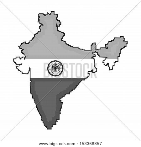 Indian territory icon in monochrome style isolated on white background. India symbol vector illustration.