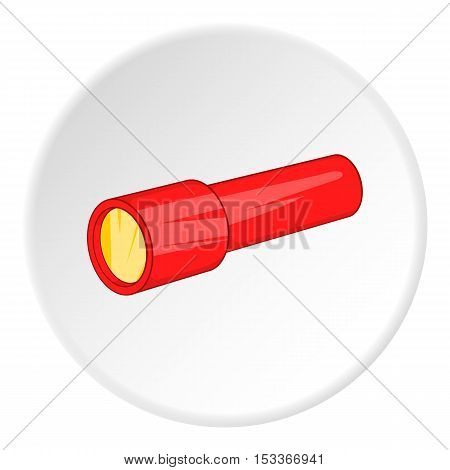 Red flashlight icon. Cartoon illustration of red flashlight vector icon for web