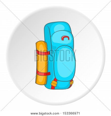 Blue tourist backpack with mat icon. Cartoon illustration of tourist backpack with mat vector icon for web