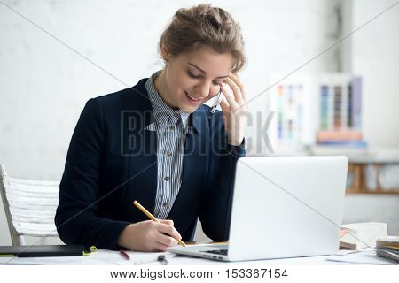 Architect Woman Working On Phone